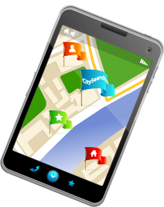 Map on mobile phone showing CitySearch as a point of interest.